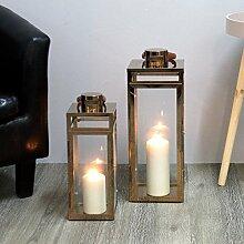 2tlg. Laternen-Set H49,5 / 38,5cm mit Ledergriff, Kupfer - Laterne Windlicht Gartenlaterne Kerzenhalter Gartenbeleuchtung Dekoration