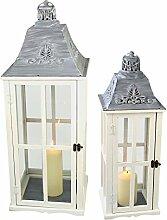 2tlg. Laternen Set Stalllaterne H75/48cm Windlicht Kerzenleuchter Kerzenhalter Gartenleuchte Dekoration Tischdekoration