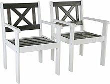 2tlg nordische Sessel weiß / taupe grau Holzstuhl
