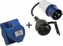 2tlg Set CEE Adapter auf Schuko + CEE Steckdose 16A 230V 3-polig mit Spritzwasserschutz