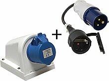 2tlg Set CEE Adapter16A auf Schuko 230V + Aufputzsteckdose 16A 3-polig mit Spritzwasserschutz