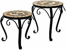 2tlg. Set Mosaik Beistelltische rund Blumenhocker Blumenständer Pflanzenständer Mosaiktisch Hocker / Motiv: Quadra