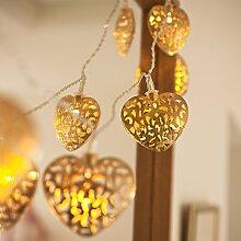 2x 10er LED Lichterkette Herz gold batteriebetrieben Lights4fun