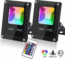 2x 10W RGB LED Strahler mit Fernbedienung IP65