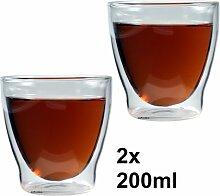2x 200ml doppelwandige Eisschale, Kaffeeglas &