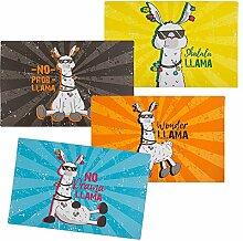 2x 4er Set Tischset Llama   Lama Geschenk   Tischset abwischbar   Wohnzimmer Deko   Tischset Kinder   Geschenkidee für Kinder   Preis am Stiel®