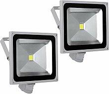 2X 50W LED Strahler Bewegungsmelder Außen Fluter
