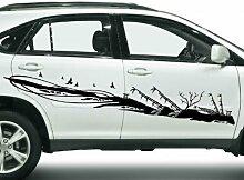 2x Autoaufkleber Blumenranke Ranke Bambus Pflanze Auto Sticker Aufkleber 5E117, Farbe:Dunkelgrün Matt;Breite vom Motiv:120cm