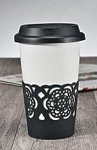 2x Autobecher Trinkbecher Kaffeebecher aus Keramik