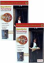 2x CBK-MS Tür Fliegenvorhang 100 x 210 cm schwarz Magnetverschluss Fliegengitter Insektenschutz Vorhang
