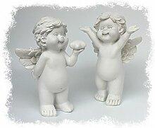 2x Deko Engel Figur Schutzengel Engelpaar Stehend