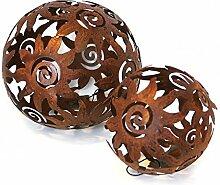 2x Deko Kugel Metallkugel im Set, Sonnendesign Ø 10 und 13,5 cm aus Metall Antik Style rostbraun, Gartendeko Tischdeko Sonne Metallsonne Feng Shui