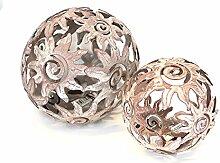 2x Deko Kugel Metallkugel im Set, Sonnendesign Ø 10 und 14 cm aus Metall Antik Style grau gewischt, Gartendeko Tischdeko Sonne Metallsonne Feng Shui