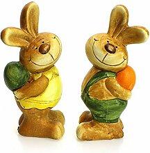2x Dekofigur Osterhase Hase Hasenmädchen & Hasenjunge im Set je 15 cm aus Polystein bunt, Osterdeko Osterfigur Hasenfigur Gartendeko Frühling Ostern