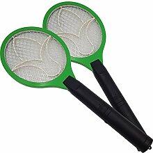 2x Elektrische Fliegenklatsche Fliegenfänger mit elektrischer Spannung im Metallgitter Anwendung im Haus und draußen
