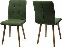 "2x Esszimmerstuhl Essstuhl Polsterstuhl Küchenstuhl Stühle Stuhl ""Vnojoi II"" (Grün/Dunkelgrau)"