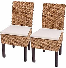 2x Esszimmerstuhl Korbstuhl M43, Stuhl, Wasserhyazinthe ~ mit Sitzkissen