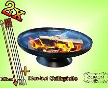 2x fach SET Lagerfeuer Massive FEUERSCHALE GRILL (je nach Wahl mit 4 - 8 - 12x Grillspiessen) mit Zubehör grillzubehör mit je 12x Grillspieße