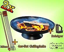 2x fach SET MASSIV FEUERSCHALE GRILL (je nach Wahl mit 4 - 8 - 12x Grillspiessen) mit Zubehör grillzubehör -STAHL 4 Wurstspieße und Bürste