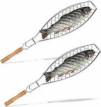 2x Fischbräter im Set, 50 cm lang, Grill