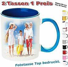 2x Fototasse bedrucken gestalten Henkelbecher Hellblau. Senden Sie uns nach dem Kauf ihre Druckdaten.