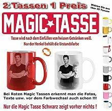 2x Fototasse bedrucken gestalten Magic Tasse Rot. Senden Sie uns nach dem Kauf ihre Druckdaten.