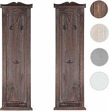 2x Garderobe Wandgarderobe Garderobenpaneel Wandhaken 109x28x4cm ~ braun shabby