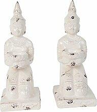 2x Garten Figur Teelichthalter Kniender Buddha Weißes Windlicht aus Keramik -28cm Hoch