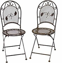 2x Gartenstuhl je 9kg Schmiedeeisen Stuhl Klappstuhl antik Stil braun