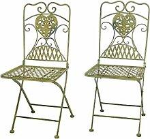 2x Gartenstuhl Paar Stuhl Bistrostuhl Schmiedeeisen Eisen antik Stil creme grün