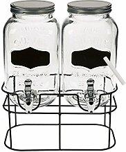 2x Glas Getränkespender mit Hahn je 3,5 Liter