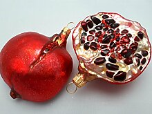2x Granatapfelhälften Granatapfel Glas Weihnachtsschmuck Weihnachtsdeko Hänger Weihnachten Dekoration Christbaumschmuck Küche Obs