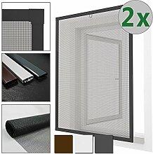 2x Insektenschutz Fenster Comfort 120 x 150 cm Alurahmen in anthrazit + Fiberglas, kürzbar - SPARSET wählen