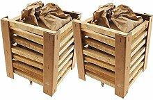 2x KROLLMANN Grillanzündkamin aus Holz inklusive Briketts, selbstzündende Grillkohle Grillanzünder