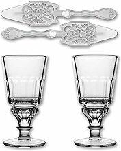 2X La Rochere Absinth Glas Pontarlier 300 ml + 2X