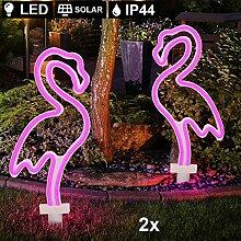 2x LED Solar Außen Steck Lampen purple Flamingo