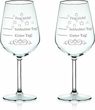 2x Leonardo XL Weinglas graviert mit Schlechter Tag, Guter Tag - Frag nicht! - Stimmungsbarometer - Lustiges & Originelles Geschenk - Geeignet als Rotweinglas Weißweinglas im Se