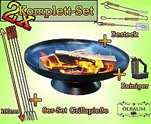 2x MASSIV Camping Feuer FEUERSCHALE GRILL (je nach Wahl mit 4 - 8 - 12x Grillspiessen) mit Zubehör grillzubehör m. Zubehör Reinigungsbürste Besteck und Grillspieße
