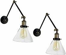 2x Modern Industrielle Glas Retro Einzel Wandlampe