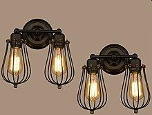 2x Modern Industrielle Metall Retro Wandlampe