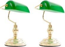 2x Nostalgie Antik Retro Banker Lampe Leuchte