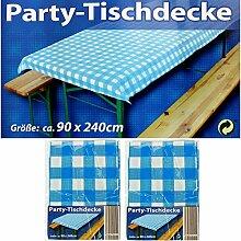 2x Party-Tischdecke Blau Weiß Bierzelt Garnitur