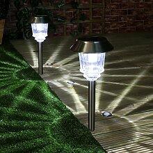 2x Pfahl Leuchten zur Wegbeleuchtung, Hochleistungs-LED,Edelstahl, weiß/silber