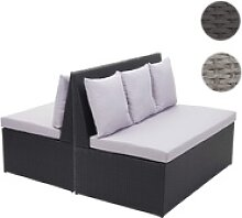 2x Poly-Rattan 2er Sofa HWC-G16, Gartenbank