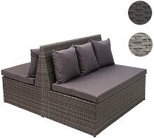 2x Poly-Rattan 2er Sofa HWC-G16, Lounge-Gartenbank