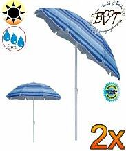 2x PREMIUM Sonnenschirm blau / MEGA-XXL Gartenschirm, Marktschirm, 200 cm / Durchmesser 2,00 m EDEL mit Volant, 8-teilig / 8-eckig massiv, Bespannung mit 160 g / m² robust, Strandschirm,Sonnendach /Sonnenschutz Dach, XXL-Klappschirm, Gartenschirm extrem wetterfest, klappbar, tragbar, seewasserfest, hochwertig robust stabil, Sonnenschutz, stabiler Schirm Klappschirm, gestreiftblau, Strandschirme, Sonnenschirme, Sonnenschirm-Tische
