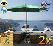 2x PREMIUM Sonnenschirm mit Getränketisch grün / MEGA-XXL Gartenschirm, Marktschirm, 300 cm / Q3 m EDEL ohne Volant, 8-teilig / 8-eckig massiv robust, Strandschirm,Sonnendach /Sonnenschutz Dach, XXL-Klappschirm, Gartenschirm extrem wetterfest, klappbar, tragbar, seewasserfest, hochwertig robust stabil, Sonnenschutz, stabiler Schirm Klappschirm, moosgrün, Strandschirme, Sonnenschirme, Sonnenschirm-Tische, Regenschirm Picknickschirme