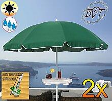 2x PREMIUM Sonnenschirm mit Getränketisch grün / MEGA-XXL Gartenschirm, Marktschirm, 200 cm / Durchmesser 2,00 m EDEL mit Volant, 8-teilig / 8-eckig massiv, Bespannung mit 160 g / m² robust, Strandschirm,Sonnendach /Sonnenschutz Dach, XXL-Klappschirm, Gartenschirm extrem wetterfest, klappbar, tragbar, seewasserfest, hochwertig robust stabil, Sonnenschutz, stabiler Schirm Klappschirm, moosgrün, Strandschirme, Sonnenschirme, Sonnenschirm-Tische