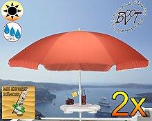 2x PREMIUM Sonnenschirm mit Getränketisch rot lachsrot orange / MEGA-XXL Gartenschirm, Marktschirm, 200 cm / Durchmesser 2,00 m EDEL mit Volant, 8-teilig / 8-eckig massiv, Bespannung mit 160 g / m² robust, Strandschirm,Sonnendach /Sonnenschutz Dach, XXL-Klappschirm, Gartenschirm extrem wetterfest, klappbar, tragbar, seewasserfest, hochwertig robust stabil, Sonnenschutz, stabiler Schirm Klappschirm Strandschirme, Sonnenschirme, Sonnenschirm-Tische