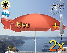 2x PREMIUM Sonnenschirm mit Hülle rot lachsrot orange / MEGA-XXL Gartenschirm, Marktschirm, 200 cm / Durchmesser 2,00 m EDEL mit Volant, 8-teilig / 8-eckig massiv, Bespannung mit 160 g / m² robust, Strandschirm,Sonnendach /Sonnenschutz Dach, XXL-Klappschirm, Gartenschirm extrem wetterfest, klappbar, tragbar, seewasserfest, hochwertig robust stabil, Sonnenschutz, stabiler Schirm Klappschirm Strandschirme, Sonnenschirme, Sonnenschirm-Tische